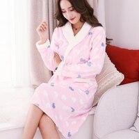 Coral Fleece Flannel Nightgown Female Winter Autumn Couple Gown Bathrobe Adult Winter Warm Pyjamas Long Dress