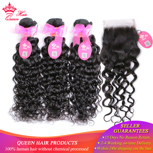 Queen Hair Brazilian Hair Weave Bundles With Lace Closure Remy Human Hair 3 Bundle Deal With Closure Water Wave Bundles