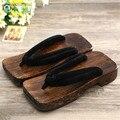 Женщины Шлепанцы каблук 2017 Лето Унисекс Сандалии Забивает обувь Японский Гета Черный paulownia Косплей обувь деревянные тапочки MET-814