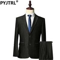 PYJTRL Mens Fashion Shiny Black Business Groom Suknia Ślubna Garnitury Najnowsze Wzory Płaszcz Pant Terno Slim Fit Masculino Kostium