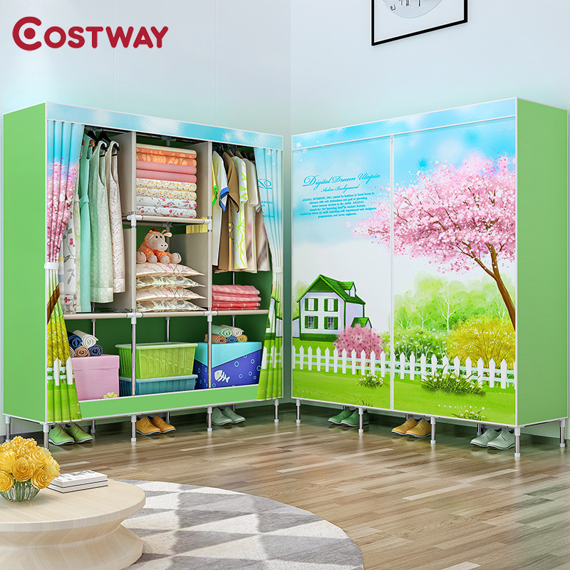 COSTWAY Cloth Wardrobe For clothes Fabric Folding Portable Closet Storage Cabinet Bedroom Home Furniture armario ropero muebles-in Wardrobes from Furniture    1