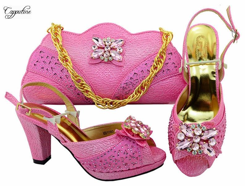 Элегантные розовые туфли-лодочки и сумка серии высокая обувь на каблуке и сумочка в комплекте для свадьбы? вечерние mm1060