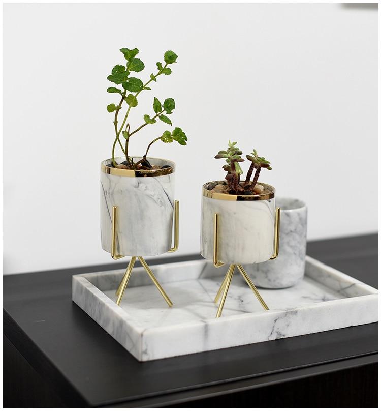 Nordic Стиль Мрамор текстура кованого железа Керамика ваза Настольный цветок стенд Свадебные украшения для хранения Подставка для ручек, для хранения бутылки