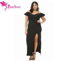 Dear Lover Spaghetti Strap Ruffles Maxi Dress Black Plus Size Women Party Gowns Summer Sexy Ladies High Slit Dress 5X LC611119