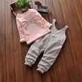 Outono meninas crianças Crianças Manga Comprida Tops t-shirt + Gato Dos Desenhos Animados calças jardineiras Jumpsuit Romper Macacões 2 pcs conjuntos de roupas S3647