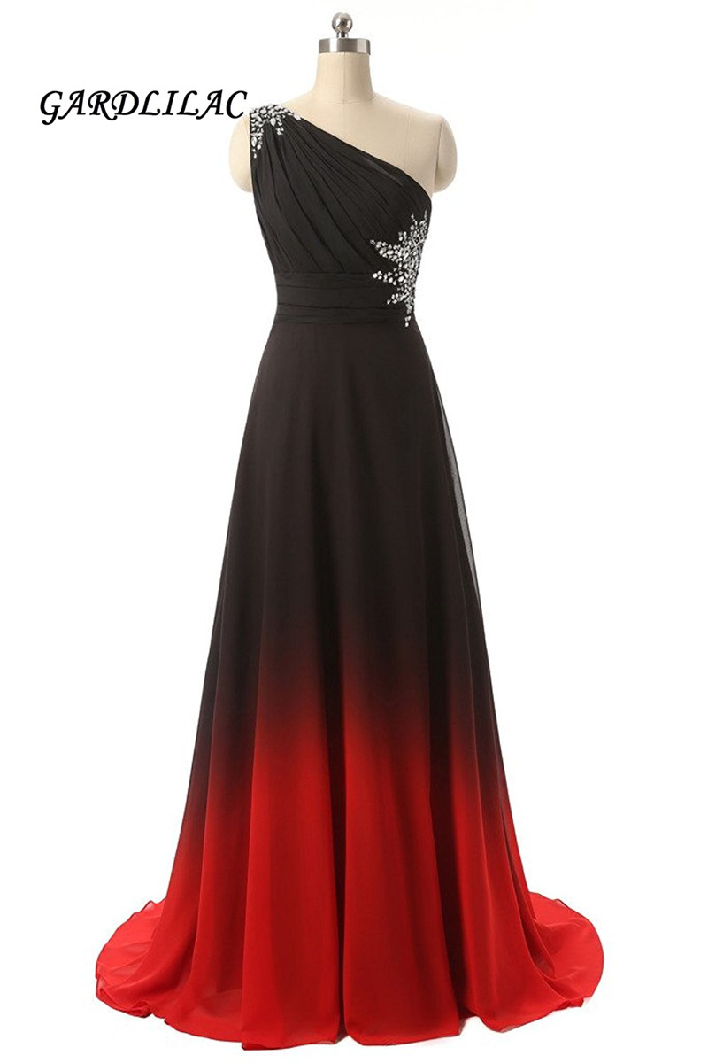 2019 New Long Prom Dress One Shoulder Black&Red Gradient Chiffon Ombre Evening Prom Dresses Party Gowns