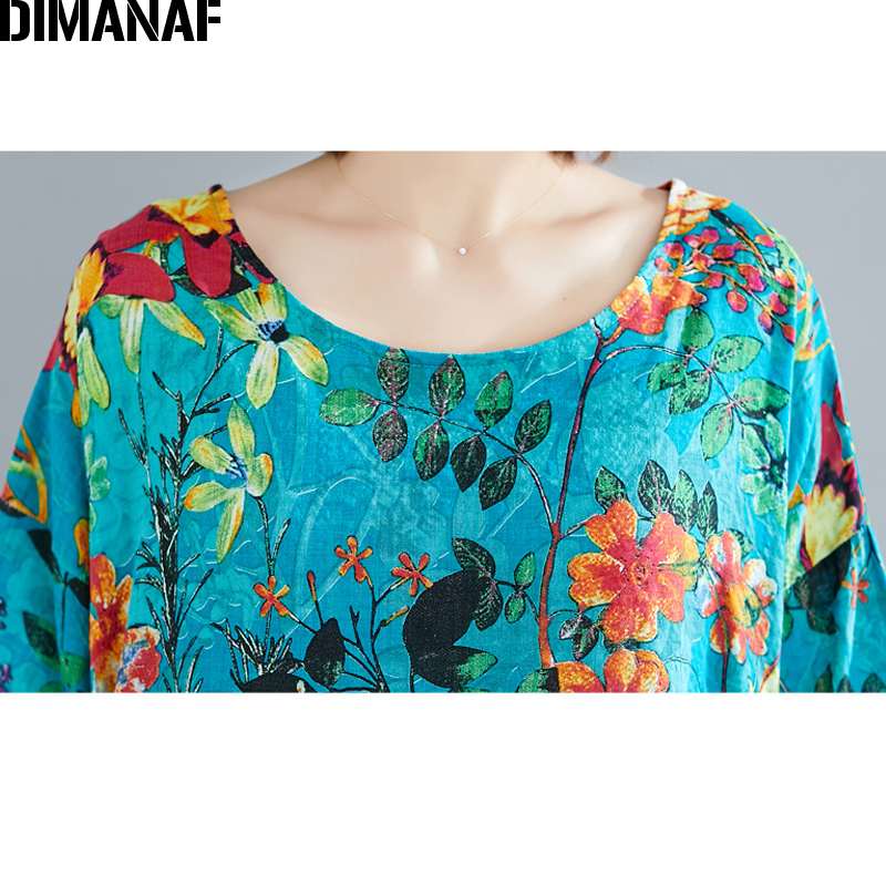 DIMANAF Plus Size Women Beach Dress Summer Sundress Cotton Female Vestidos Lady Long Dress Print Floral Loose Big Size 5XL 6XL