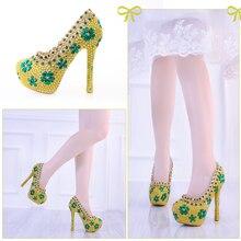 Gold Crystal Pumps Women Wedding Shoes High Heels Platform Bridal Luxury Green Rhinestone  Shoes