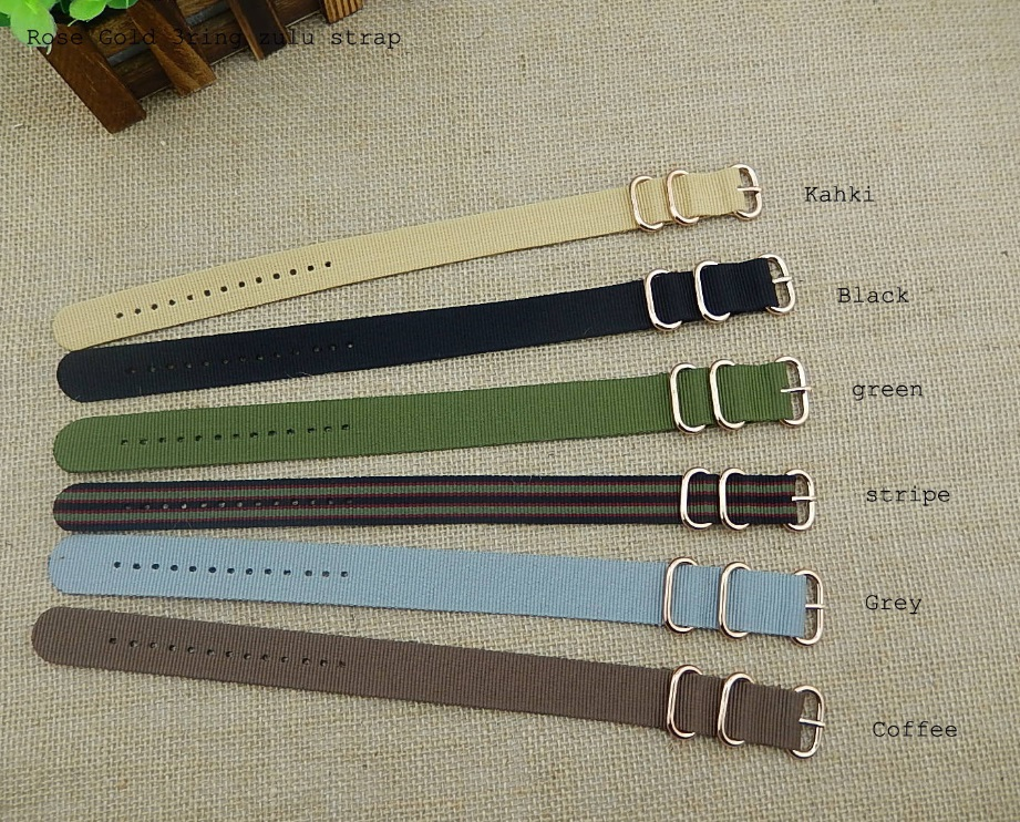 18 20 22mm New Man Woman Kahki Black Green Atripe Grey Coffee Colorful watchband Strap Belt Nato Zulu Ring Rose Gold Pin Buckle stiony с2w 18 green grey