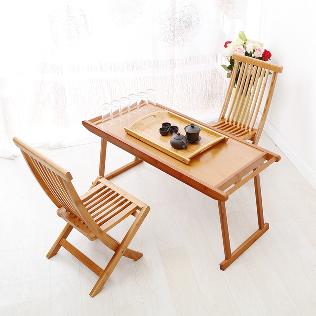 Teaside Portable Folding Bamboo Wood Coffee Table Tea Kang Bed Computer Desk Study Tables And Chairs Combination End