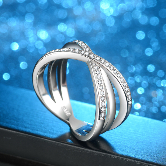 Fashion Solid 925 Silver Ring For Women Cross X Shape Exquisite Party Cocktail Ring Zirconia Micro Paved Silver Jewelry 3