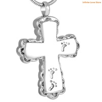 KLH8634 9 Engraved Footprint Stainless Steel Memorial Cross Ashes Urn Jewelry Pendant Wholesale Funeral Jewelry for Human Ashes