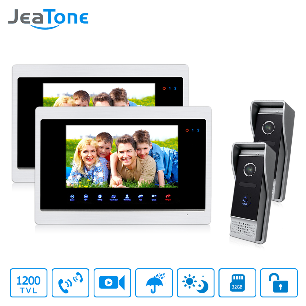 Jeatone Video Doorbell 7 Color TFT LCD Video Door Phone Doorbell Intercom Night Vision Home Security Kit 2 Camera 2 Monitors lcd wired video security doorphone camera tft screen video interphone infrared night vision doorbell intercom