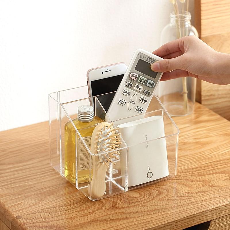 TV Remote Control Phone Key Pen Clear Glasses Organizer Storage Box Stand Holder