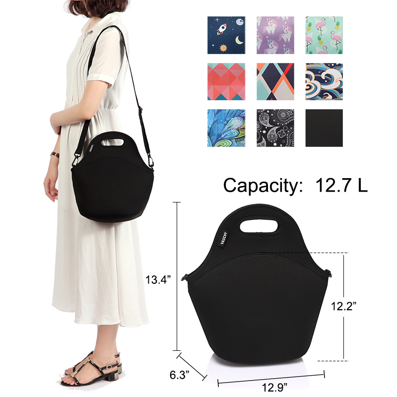 Image 2 - VASCHY Neoprene Insulated Lunch Bags for Women Men with Detachable Adjustable Shoulder Strap for Work in Paisley Clover PatternLunch Bags   -