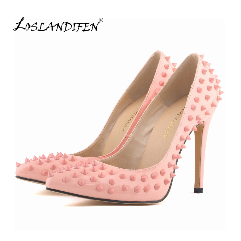 LOSLANDIFEN Sexy Pointed Toe High Heels Women Pumps Shoes Patent Rivets Spring Brand Wedding Pumps Big