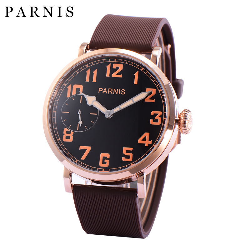 Casual Watches 46mm Parnis Rose Gold Watch Case Black Dial Orange Numbers Hand-Winding Watch Men Brown Strap цена и фото