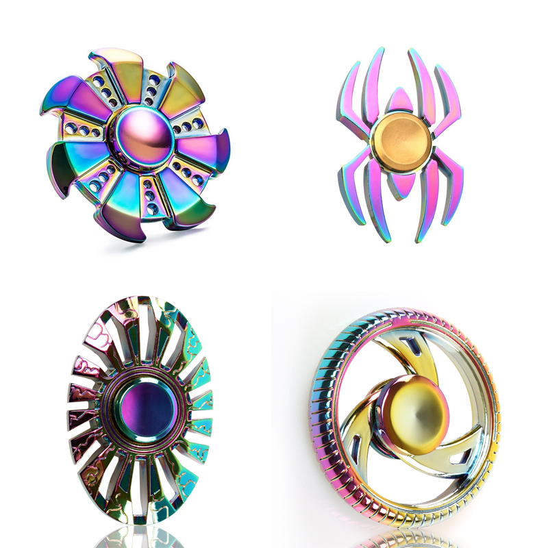 Rainbow EDC Zinc Alloy Hand Spinner Fidget Spinner Finger Metal Tri spinner Anxiety Stress Toy Gift