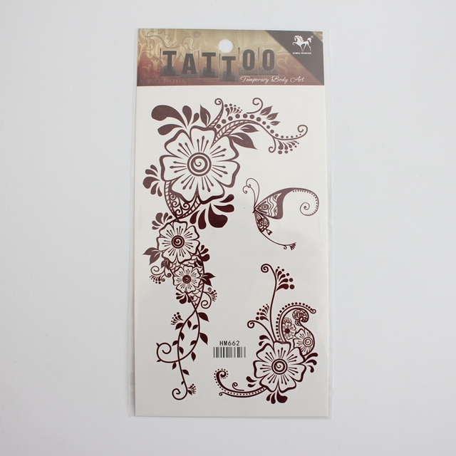1pcs Brown Henna Tattoo Sticker Waterproof Temporary India Mehndi