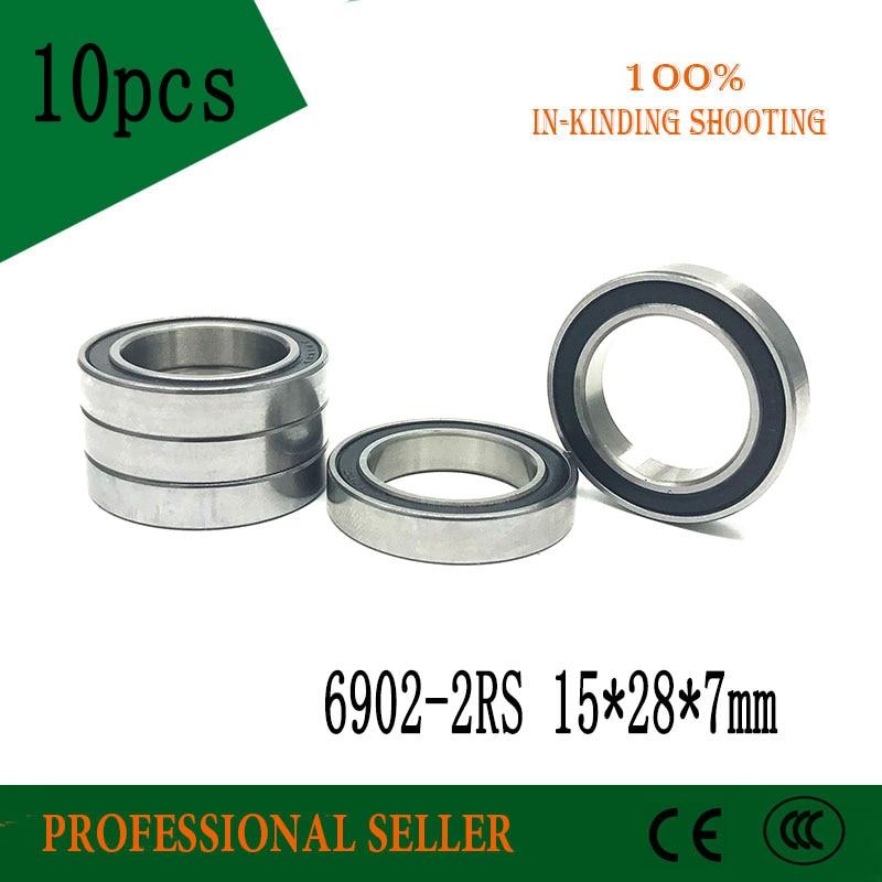 Free Shipping 10PCS 6902-2RS 15x28x7MM Metric Thin Section Bearings 61902RS 6902 RS Bike Hub Part