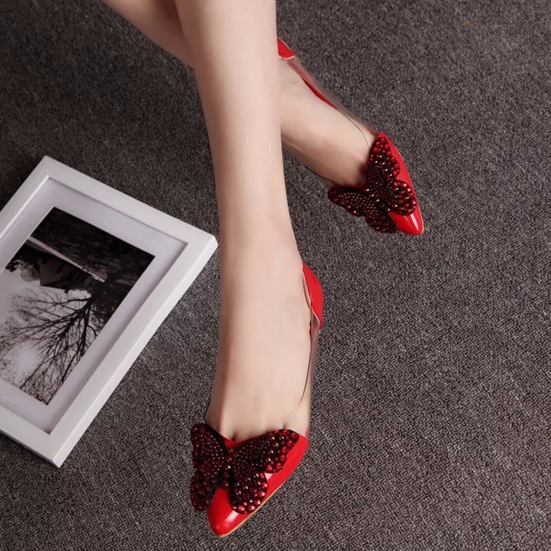 Image 2 - 2018 Luxury Rhinestone Ballet Flat Shoes Women Spring Autumn Butterfly Pointed Toe Wedding Shoes Loafers Size 39Womens Flats   -