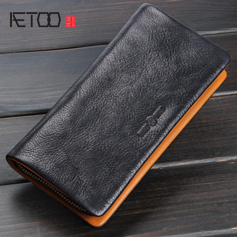 AETOO Original handmade wallet men and women zipper clutch leather long wallet retro crazy horse leather