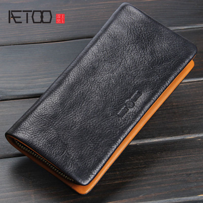 AETOO Original handmade wallet men and women zipper clutch leather long wallet retro crazy horse leather large Vintage zuoyi crocodile leather original zipper snap multifunctional in large capacity and long wallet