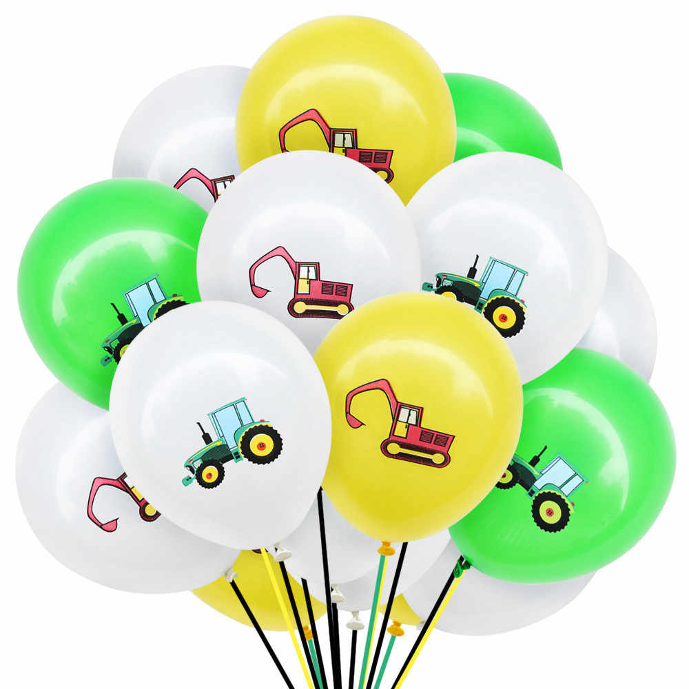 10Pcs Construction Vehicle Excavator Latex Balloons Confetti Balloon Engineering Vehicles Theme Birthday Party Decoration Globs