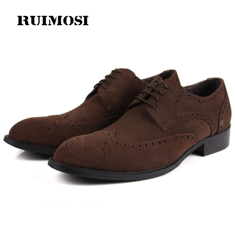 RUIMOSI Designer Brand Man Formal Wing Tip Dress Shoes Vintage Genuine Leather Suede Brogue Oxfords Round Toe Men's Flats GK58