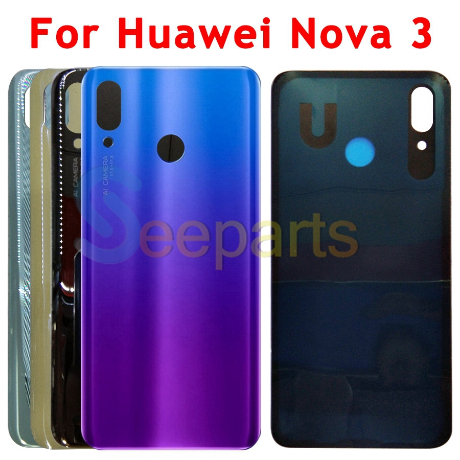 US $3 79 5% OFF Huawei Nova 3 Battery Cover Back Glass Rear Door Housing  Case For Huawei Nova 3i Battery Cover With Camera Lens Replacement-in  Mobile