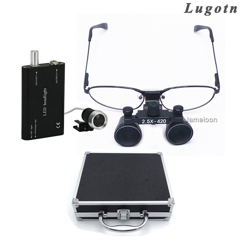 Metal box 2.5 times near sight removable glass surgical operation loupe with led head light dental medical operating magnifier 5lens led light lamp loop head headband magnifier magnifying glass loupe 1 3 5x y103