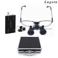 Metal box 2.5 times near sight removable glass surgical operation loupe with led head light dental medical operating magnifier