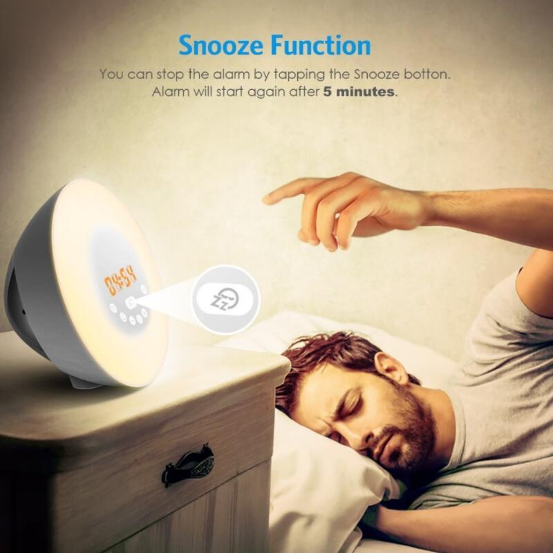 Wake Up Light Sunrise Simulation Alarm Clock With Sunset Snooze