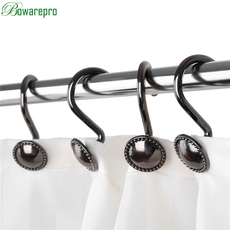 bowarepro 12PCS/Set Curtain Hooks Zinc Alloy Metal Shower Curtain Hooks Vintage Shower Curtain Rings European Hot Free shipping tree forest print waterproof shower curtain