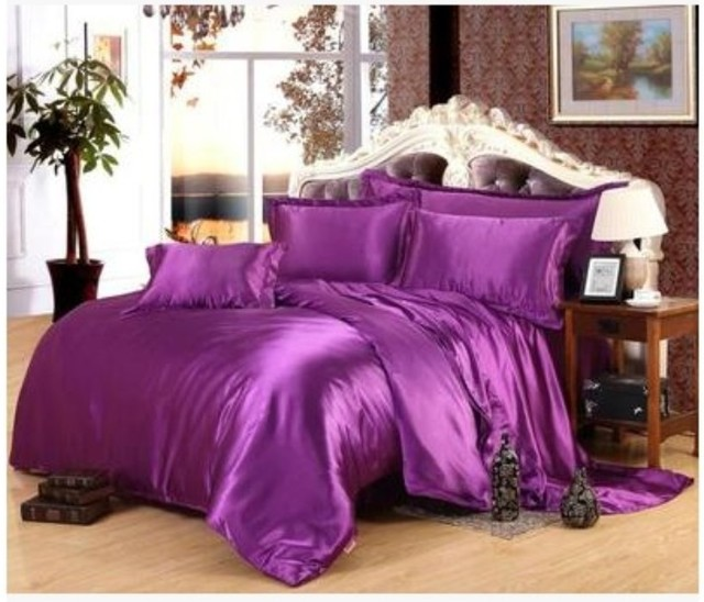 Deep purple Silk satin bedding set California king size queen full twin quilt duvet cover fitted bed sheet double bedspread 5pcs