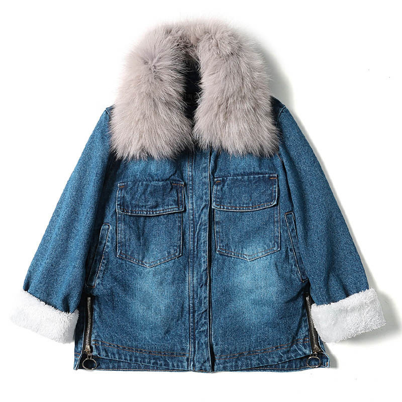 chaqueta mujer Women Winter Denim Jacket and Coat 2018 Real Fox Fur Thick Lambswool Jacket Outerwear Coat Parka D486