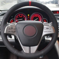 Hand Stitched Car Steering Wheel Cover Black Genuine Leather For Mazda 6 2009