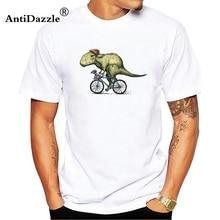 0c00fa349 Antidazzle Dinosaur T rex riding a bicycle Band Funny T Shirt Tshirt Men  Cotton Short Sleeve