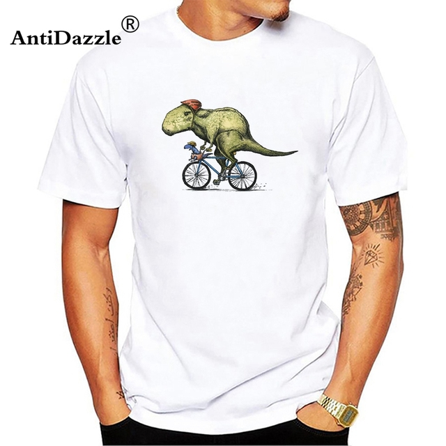 antidazzle dinosaur t rex riding a bicycle band funny t shirt tshirt