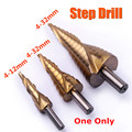Hot 1pc 4-12/4-20/4-32mm HSS Spiral Grooved Step Drill Bit Triangle Shank Titanium Coated Step Drills for Metal Drilling Tools