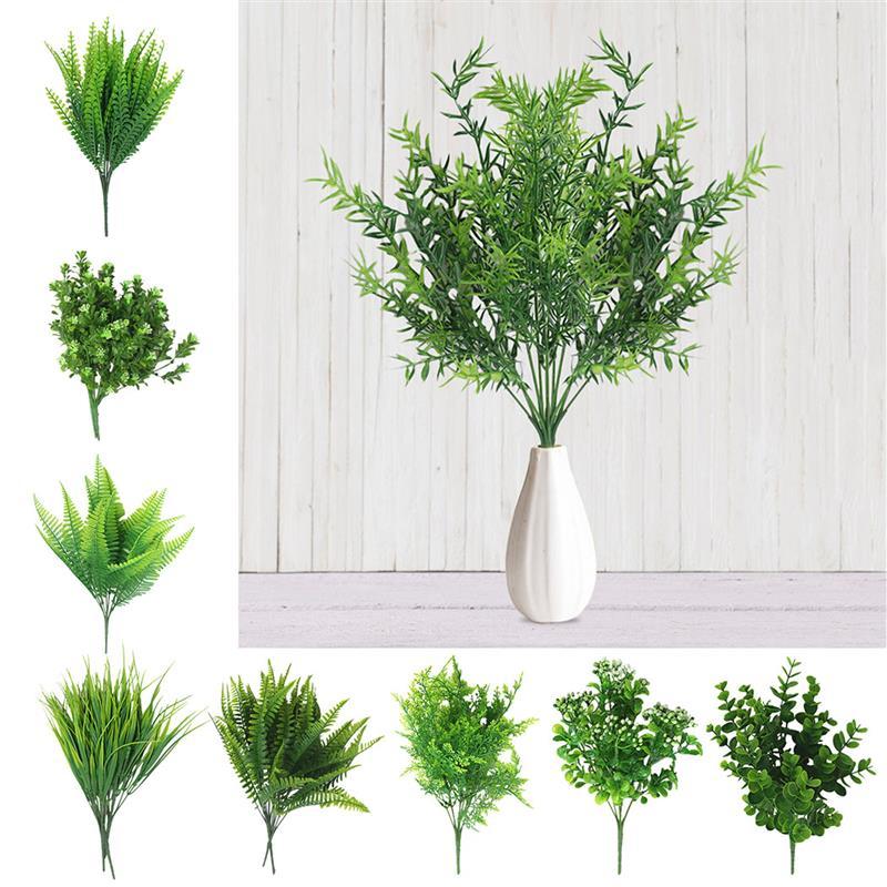 1Pc Criativo Arbustos Artificiais Samambaias Plantas Artificiais Decorativas Simulação Fern Planta Flor de Plástico Acessórios de Material Da Parede