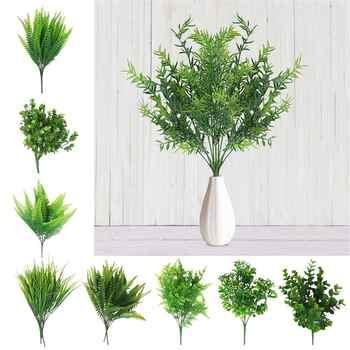 1 ud. Creativo Artificial Shrubs Planta Artificial decorativa Ferns planta de simulación de plástico flor Fern Material de pared Accesorios
