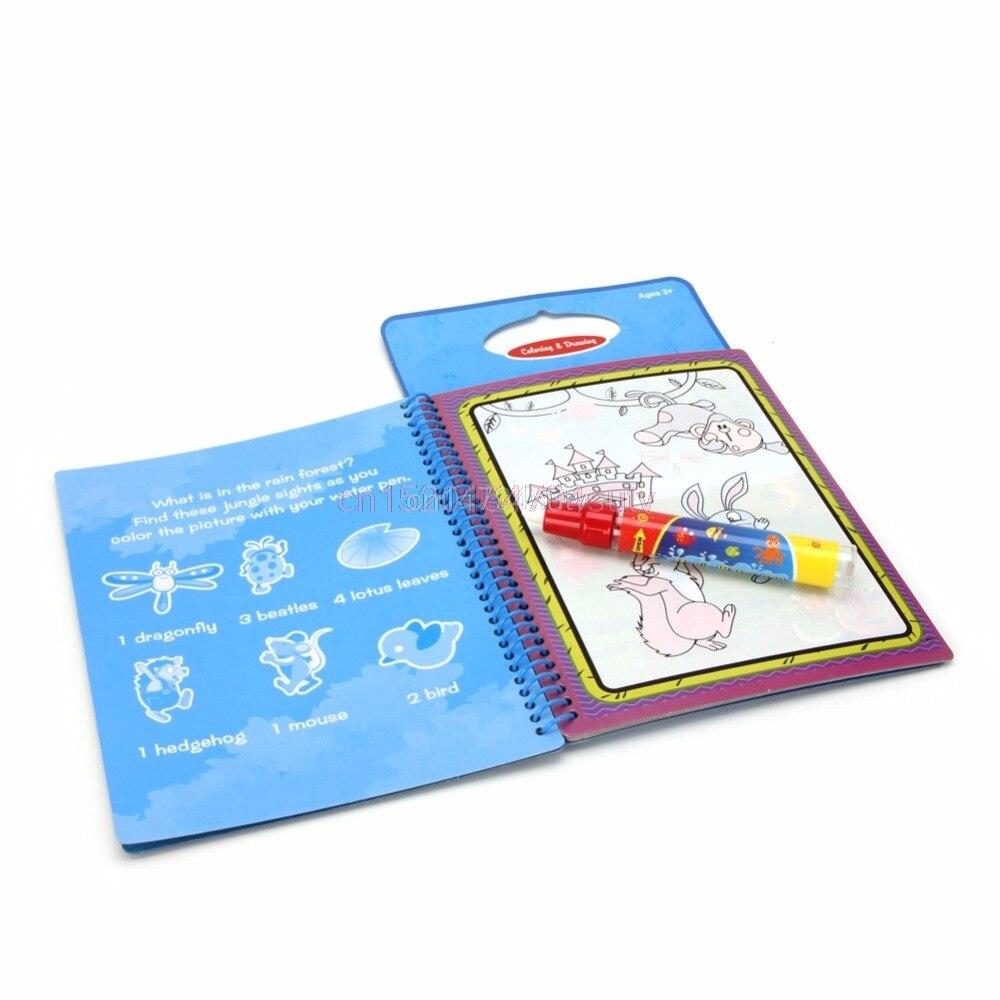 Kids Magic Water Drawing Book Coloring Doodle Animal Painting Board w/ Magic Pen #H055#