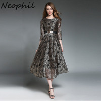 Neophil 2018 Womens Embroidery Floral Lace Hollow Out Patchwork Midi Dresses Vintage Elegant Lady Fit Flare Femme Vestidos D1612