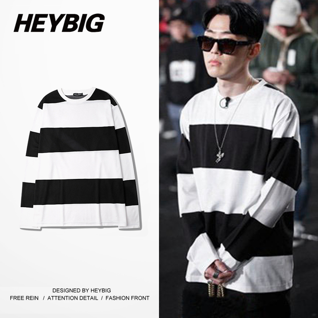 Striped Long-sleeved T-shirt Korean fashion Rap Tee shirt Casual Loose TEE SHIRT heybig Street Tide Clothing CN SIZE