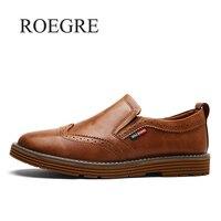 ROEGRE New Bullock Carve Men Loafers Fashion Genuine Leather Men Brogue Shoes Men S Slip On