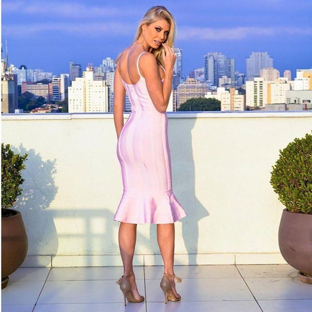 Rose Mode 2018 Femmes Bandage Élégante Du Gros Party Meqeiss Ras Sans Nouvelle Robe Celebrity Cou Couleur En Rayé Manches De fHxqFw