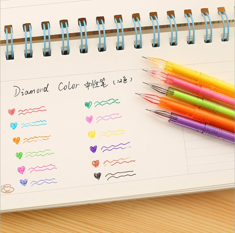1 Pieces Rhinestone Cute sweet Candy Colorful Diamond Gel Pen Creative Gift School Supplies Colored Stationery Handles 12 pcs 0 5mm cute small fresh candy color diamond color gel pen creative gift school supplies colored gel pens