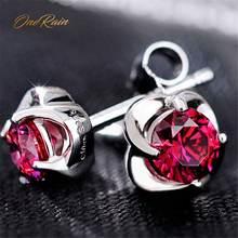 Женские серьги гвоздики из серебра 100% пробы с рубином