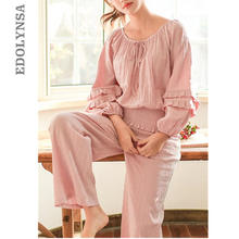 09e4843524 2019 Primavera Verano ropa de dormir de las mujeres ropa de casa de pijama  conjunto lindo cuello obispo manga larga pantalones d.